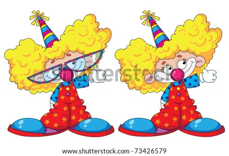 illustration of a funny kids clowns - stock vector