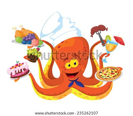 illustration of a funny octopus cook - stock vector