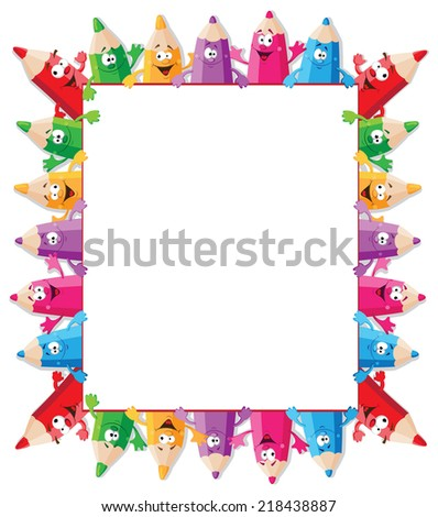 illustration of a funny pencils and paper - stock vector
