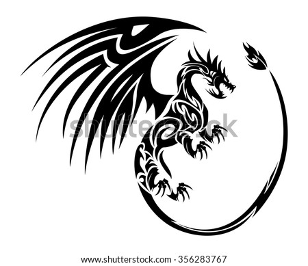 illustration of a furious flying dragon tattoo symbol with wing isolated on white background - stock vector