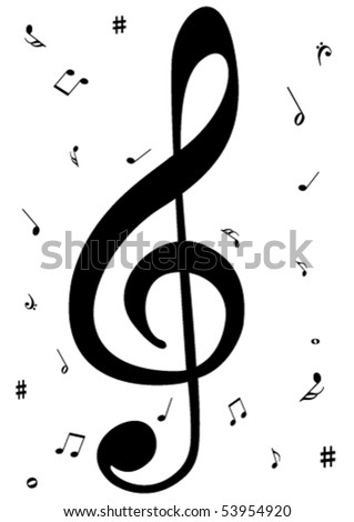 Illustration of a G clef with music notes - stock vector