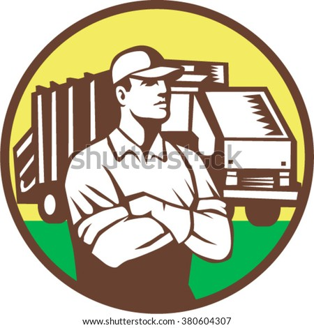 Illustration of a garbage collector with folded arms and rubbish waste collection truck in background set inside circle done in retro style. - stock vector