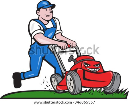 Illustration of a gardener wearing hat and overalls with lawnmower mowing lawn viewed from front set on isolated white background done in cartoon style.  - stock vector