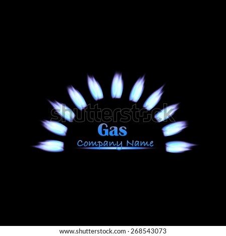 Illustration of a gas company design on a dark background. - stock vector