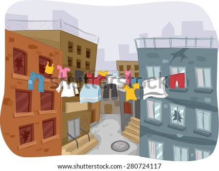 Illustration of a Ghetto with Clothes Hanging from a Clothesline in Plain Sight - stock vector