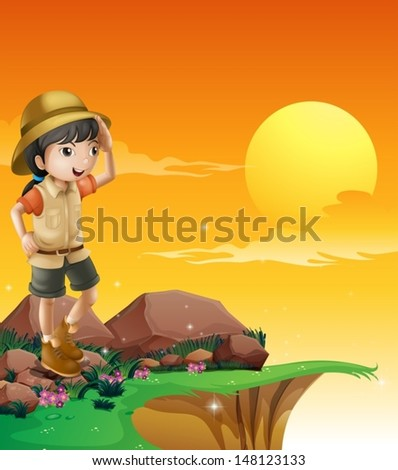 Illustration of a girl above a rock near the cliff - stock vector