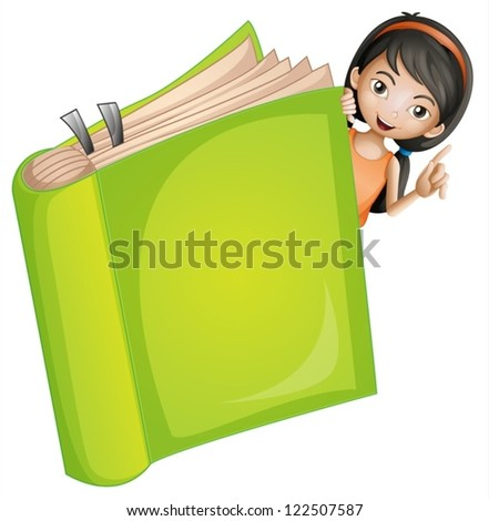 Illustration of a girl and a book on a white background - stock vector