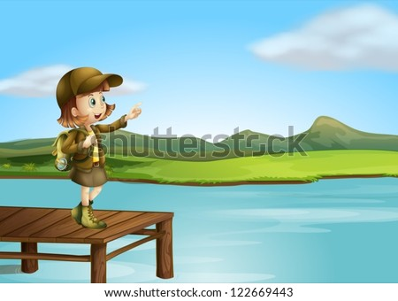 Illustration of a girl and a river in a beautiful nature - stock vector