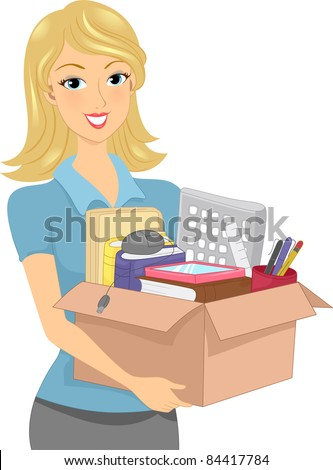 Illustration of a Girl Carrying a Donation Box or Box Full of Office Supplies - stock vector