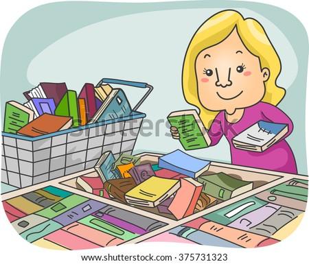Illustration of a Girl Choosing Books at a Book Fair - stock vector