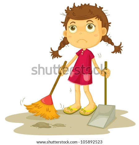 illustration of a girl cleaning floor on a white background - stock vector