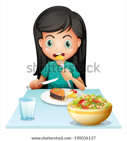 Illustration of a girl eating her lunch on a white background - stock vector