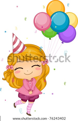 Illustration of a Girl Holding Birthday Balloons - stock vector