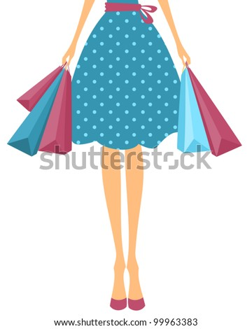 Illustration of a girl in cute polka dot dress holding shopping bags. - stock vector
