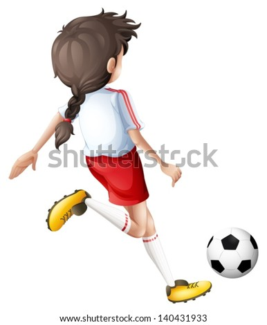 Illustration of a girl kicking a soccer ball on a white background - stock vector