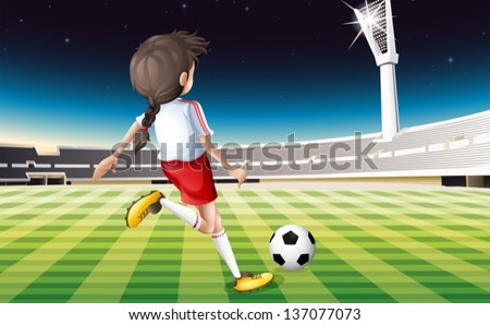 Illustration of a girl playing soccer at the field - stock vector
