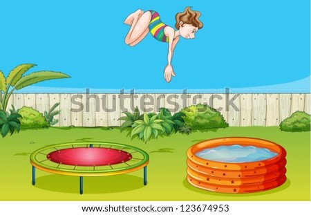 Illustration of a girl playing trampoline in a beautiful garden - stock vector