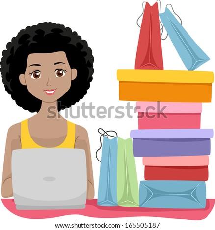 Illustration of a Girl Sitting Beside Shopping Bags Doing Some Shopping Online - stock vector