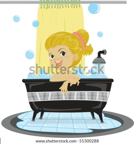 Illustration of A Girl Taking Bath on white background - stock vector