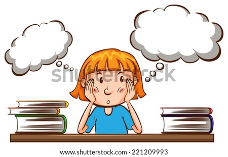 Illustration of a girl thinking  - stock vector