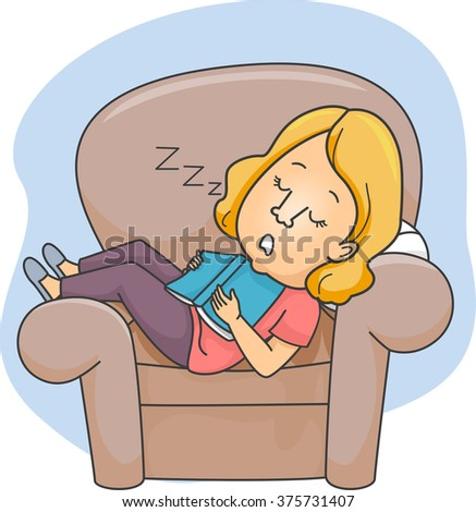 Illustration of a Girl Who Fell Asleep on a Chair After Reading a Book - stock vector