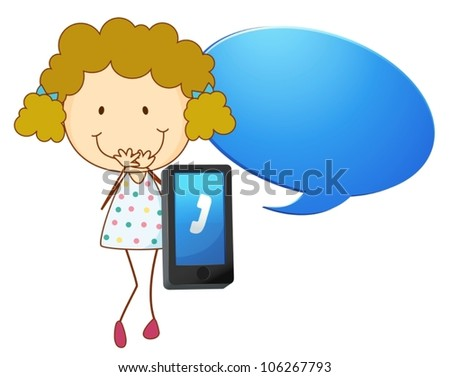 illustration of a girl with cell phone on a white - stock vector