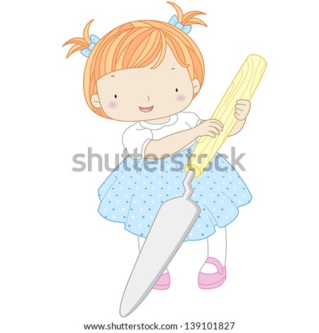 illustration of a girl with palette knife. - stock vector