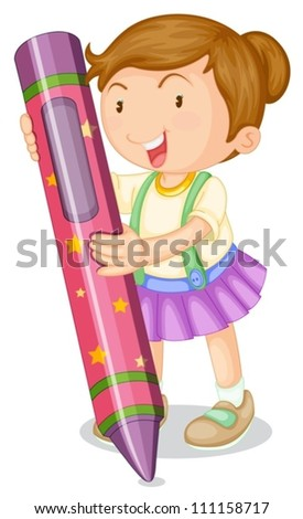 illustration of a girl with pencil on a white background - stock vector
