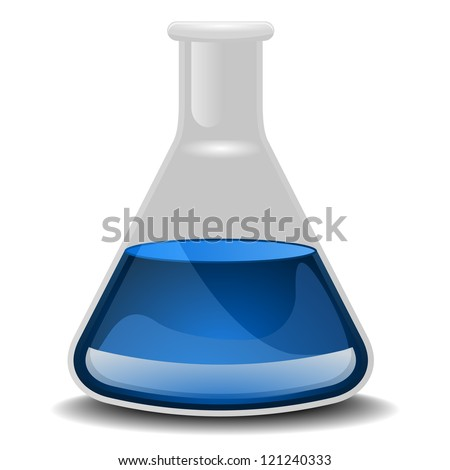 illustration of a glass flask with blue liquid - stock vector