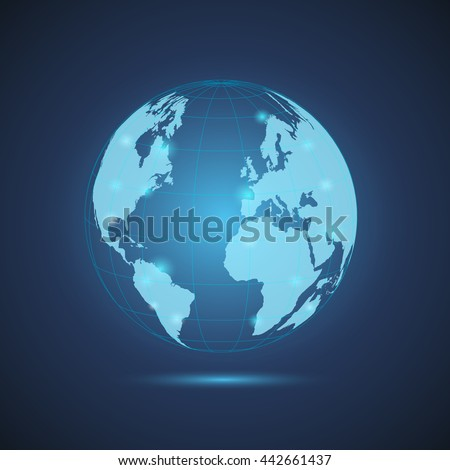 Illustration of a glowing world globe on a colorful blue background. - stock vector