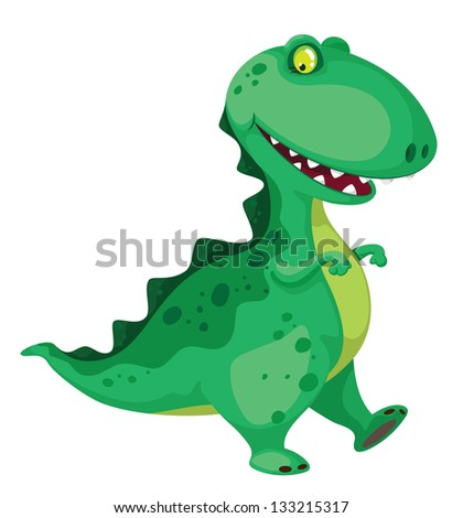 illustration of a going dinosaur - stock vector