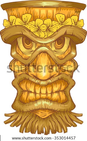 Illustration of a Golden Wooden Statue with Tiki Carvings - stock vector