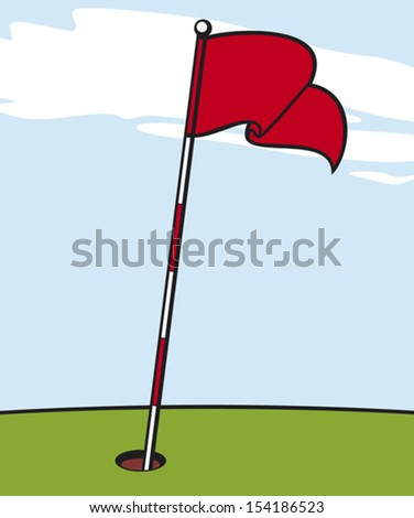 illustration of a golf flag - stock vector