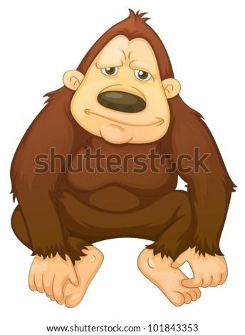 Illustration of a gorilla on white - stock vector