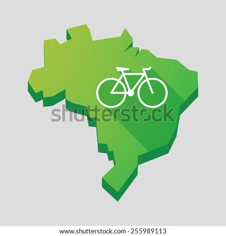 Illustration of a green  Brazil map with a bicycle - stock vector