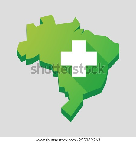 Illustration of a green  Brazil map with a pharmacy sign - stock vector