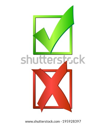 Illustration of a green checkmark and red X isolated on a white background. - stock vector