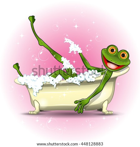 Illustration of a green frog in a bath - stock vector