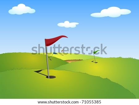 illustration of a green golf course with flags - stock vector