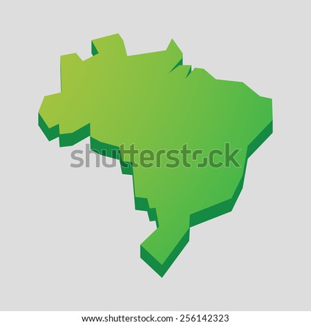 Illustration of a green isolated  Brazil map  - stock vector