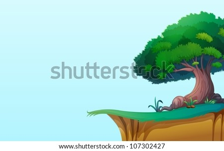 illustration of a green landscape on blue background - stock vector