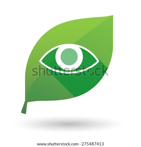 Illustration of a green leaf icon with an eye - stock vector