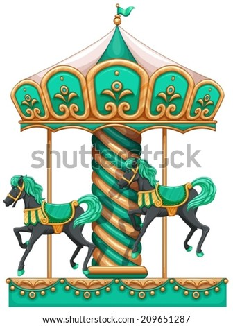 Illustration of a green merry-go-round on a white background - stock vector