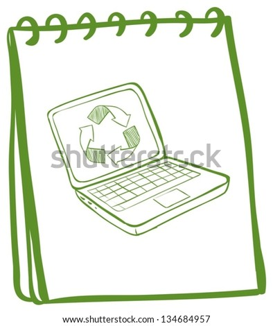 Illustration of a green notebook with a laptop at the cover page on a white background - stock vector