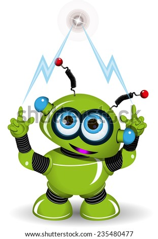 Illustration of a green robot and lightning - stock vector