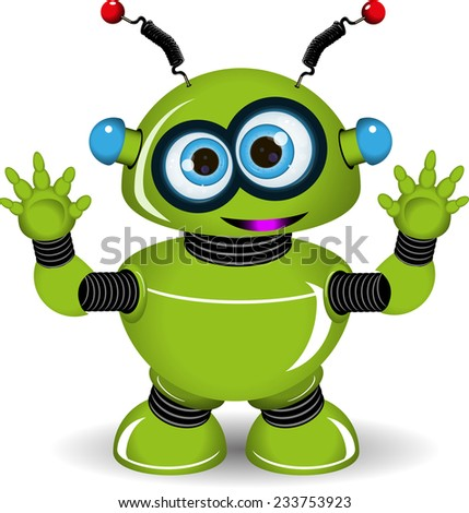 Illustration of a green robot with antennae - stock vector
