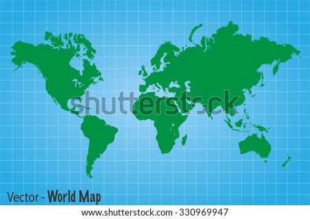 Illustration of a green world map on a blue grid background. - stock vector