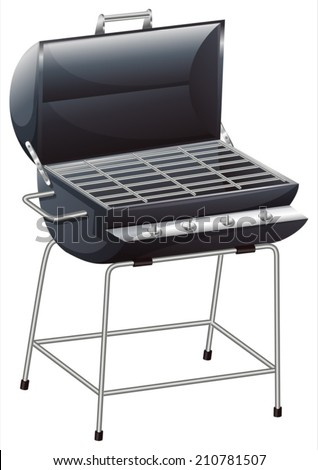 Illustration of a grilling device on a white background - stock vector