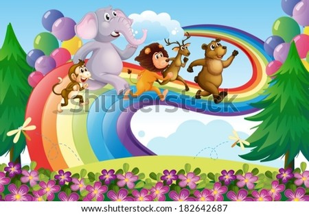Illustration of a group of animals at the rainbow - stock vector