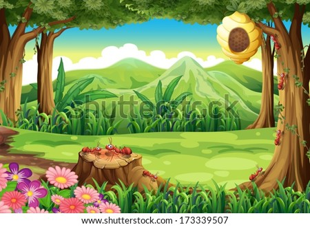 Illustration of a group of ants and a beehive at the forest - stock vector